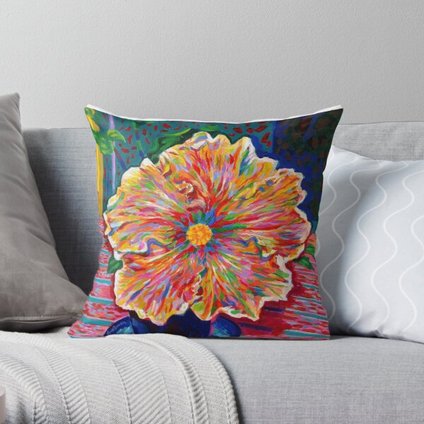 Lucky We Live Hibiscus Throw Pillow