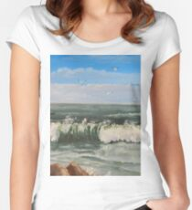 Wave Crashing Women's Fitted Scoop T-Shirt