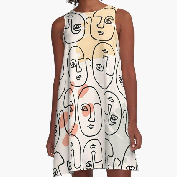 Abstrakte Linien Gesichter A-Linien Kleid
