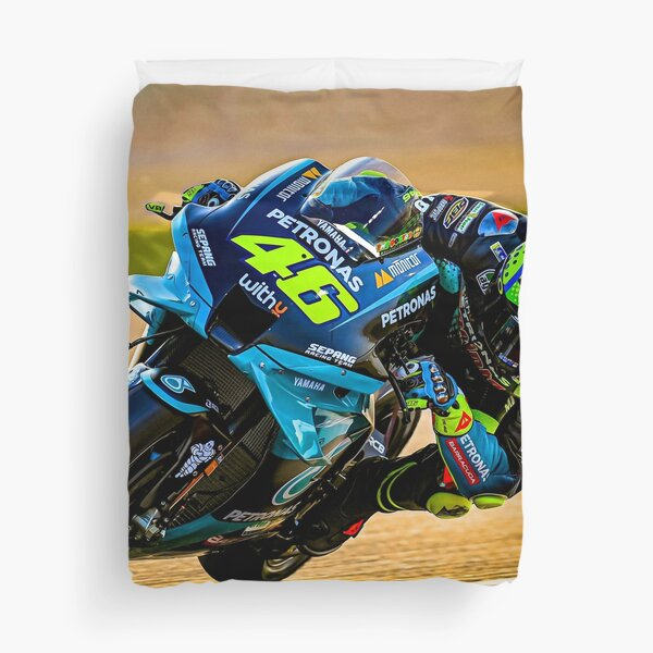 Valentino Rossi racing his 2021 MotoGP motorcycle Duvet Cover