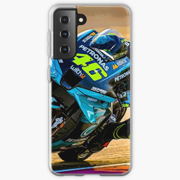 Valentino Rossi racing his 2021 MotoGP motorcycle abstract Samsung Galaxy Soft Case