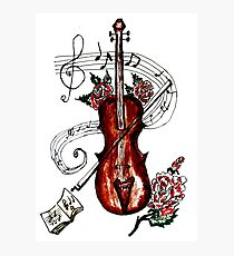 Violin with Notes 2 Photographic Print
