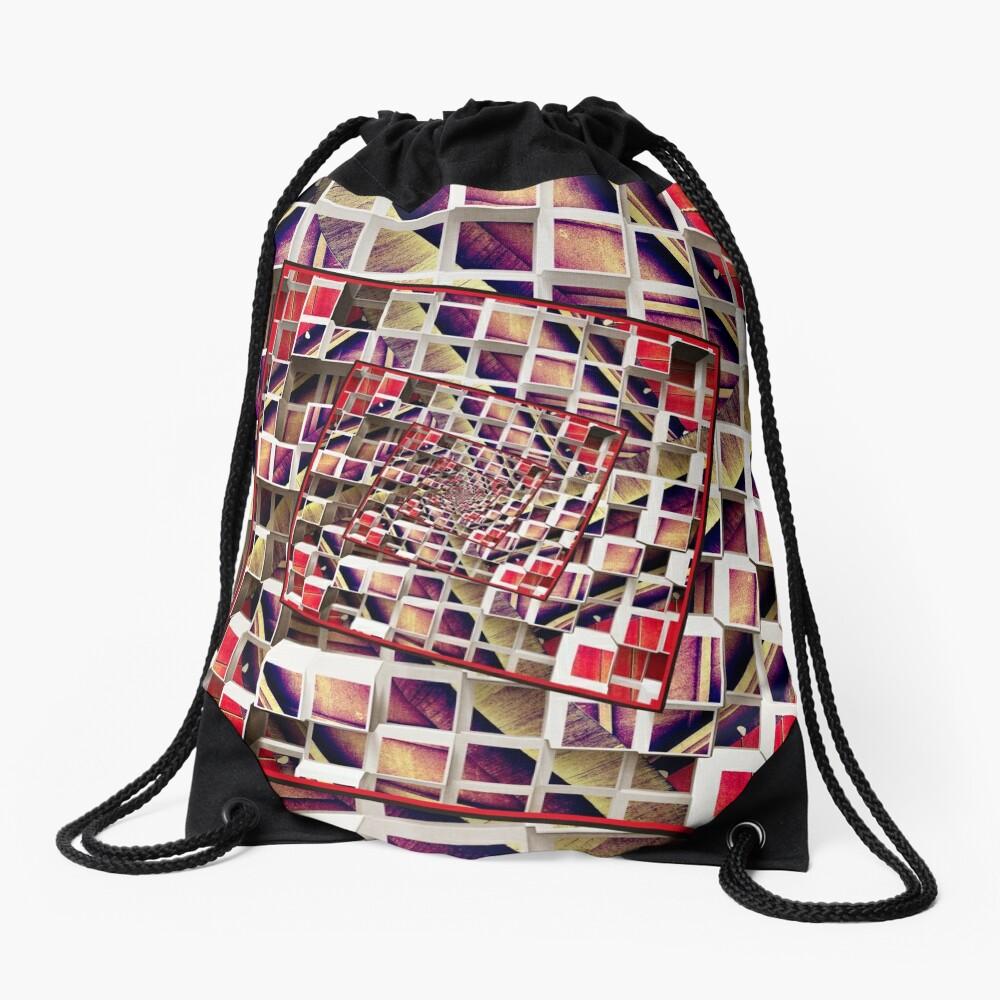 Infinite Rotating 3D Cubes Drawstring Bag