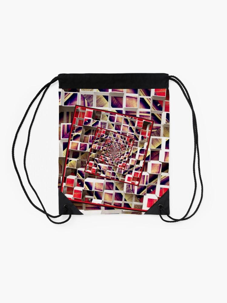 Alternate view of Infinite Rotating 3D Cubes Drawstring Bag