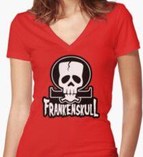 FrankenSkull New Ohm Logo Big Women's Fitted V-Neck T-Shirt