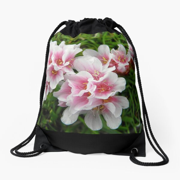 Pink Armeria Drawstring Bag
