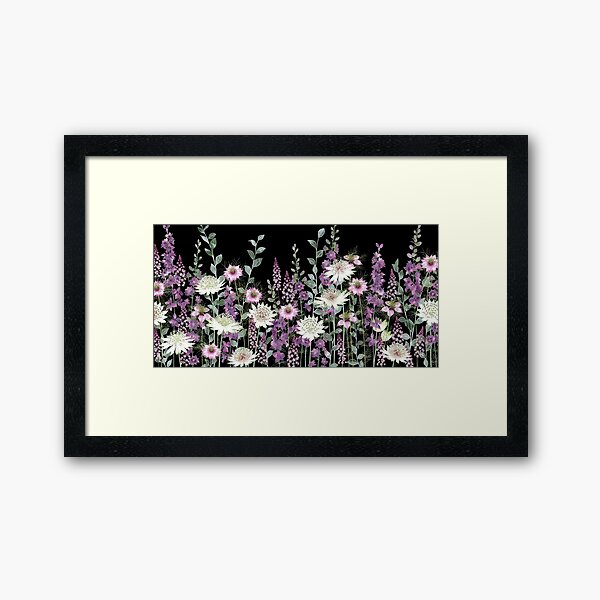 Flower Garden at Night - Astrantia, Persian Jewels, Larkspur, Tiarella Framed Art Print