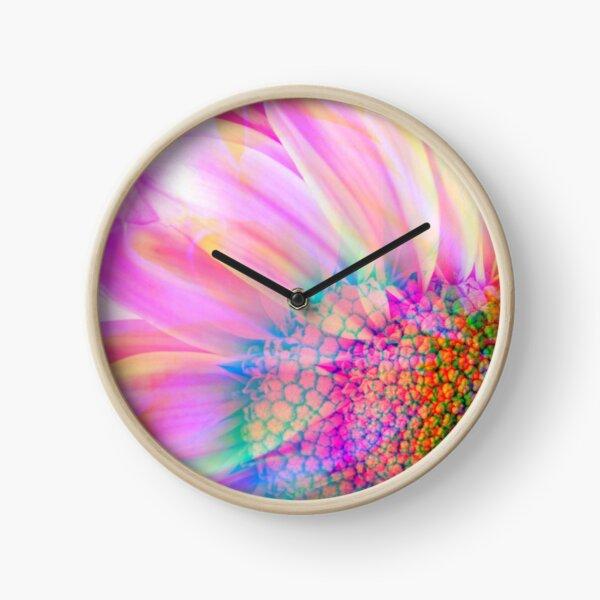 Neon Daisy Clock