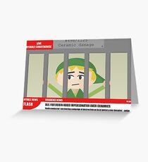 Link jailed for pottery damage (TV newsflash) Greeting Card