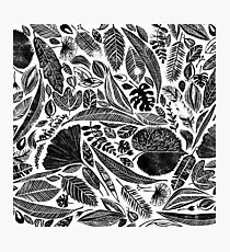Mixed leaves, Lino cut printed nature inspired hand printed pattern Photographic Print