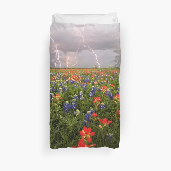 Spring Thunderstorm Over a Field of Texas Wildflowers Duvet Cover