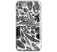 Mixed leaves, Lino cut printed nature inspired hand printed pattern iPhone Case/Skin