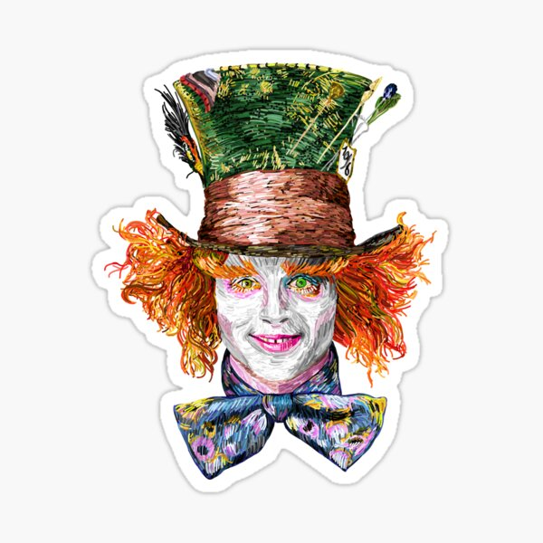 The Mad Hatter (Van Gogh Style) Sticker
