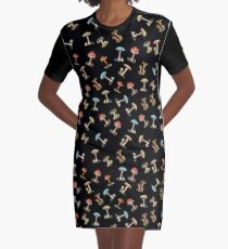 Electric Magic Mushrooms on Black Graphic T-Shirt Dress