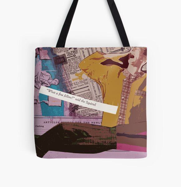 Fine Fellow - original mixed media collage All Over Print Tote Bag