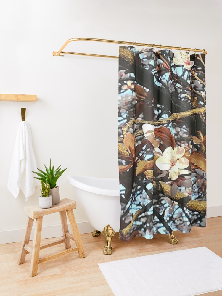 Alternate view of The Spring gives you happiness  Shower Curtain