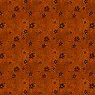 Black Floral Pattern Over Burnt Orange by pjwuebker