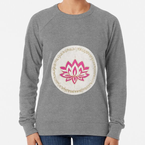 Pink Lotus with Light Language  Lightweight Sweatshirt