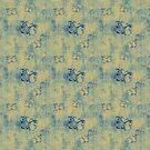 Dark Blue Butterflies Pattern On Yellow by pjwuebker