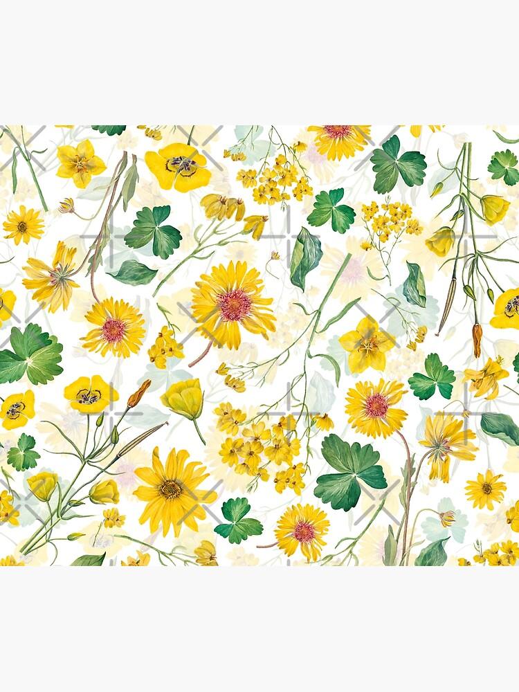 Vintage Yellow Wildflowers Meadow by UtArt