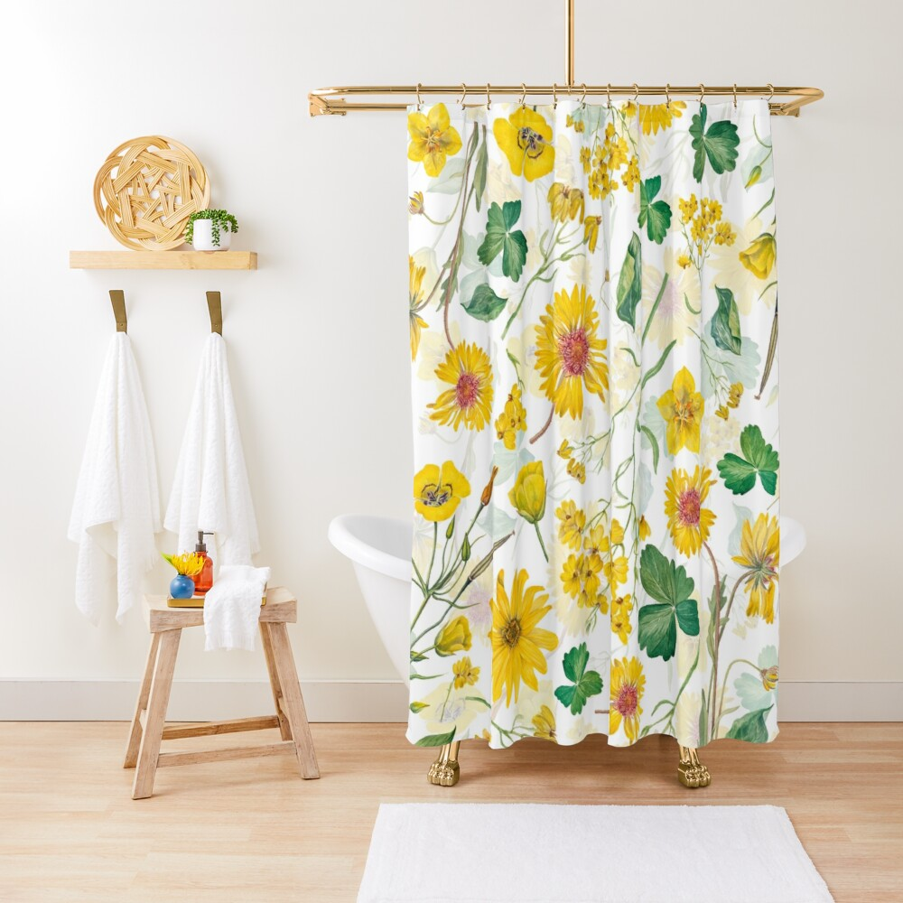 Vintage Yellow Wildflowers Meadow Shower Curtain