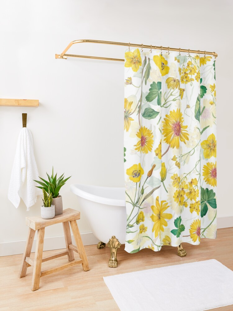 Alternate view of Vintage Yellow Wildflowers Meadow Shower Curtain