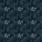 Antique White Butterflies Pattern on Dark Blue by pjwuebker