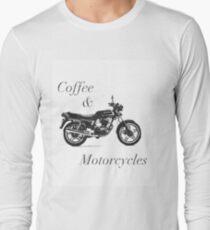 Café y motocicletas B & W Camiseta de manga larga