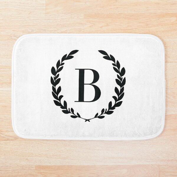 Letter B, Laurel wreath monogram B, Initial B, Laurel frame with letter B Bath Mat