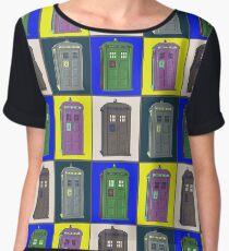 TIMEY WIMEY WARHOL TARDIS 2 Women's Chiffon Top