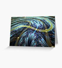 Blue Spiral - Abstract Fractal Artwork Greeting Card