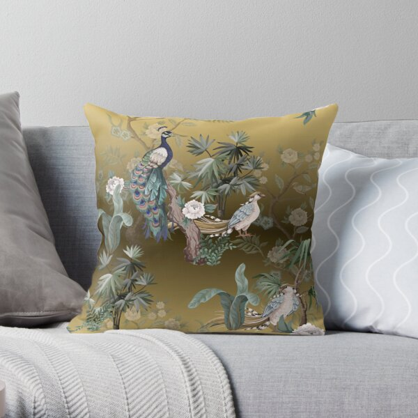Chinoiserie Wallpaper - Fengshui Oriental Golden Garden with Peacock Throw Pillow