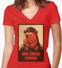 Work Harder Comrade Women's Fitted V-Neck T-Shirt