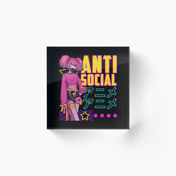 Aesthetic Anti Social Anime Girl Vaporwave EDM Acrylic Block
