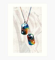 Military Art Dog Tags - Honor - By Sharon Cummings Art Print