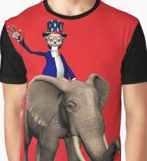 Uncle Sam Riding On Elephant Graphic T-Shirt