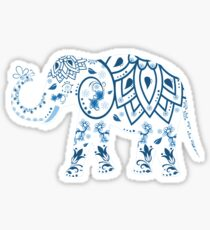 Decorated Elephant With Butterfly, Elephant Sticker, Elephant Art,  Sticker
