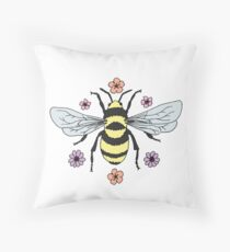 Bumblebee and Flower Blossoms Throw Pillow
