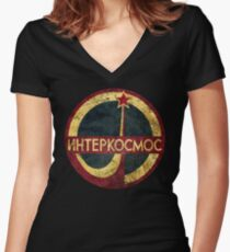 CCCP Interkosmos V02 Women's Fitted V-Neck T-Shirt