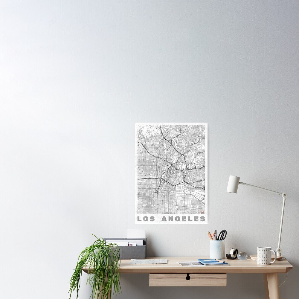 Los Angeles Map Line Poster