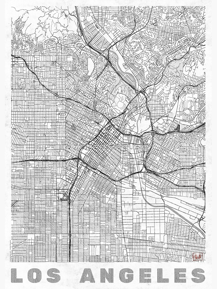 Los Angeles Map Line by HubertRoguski