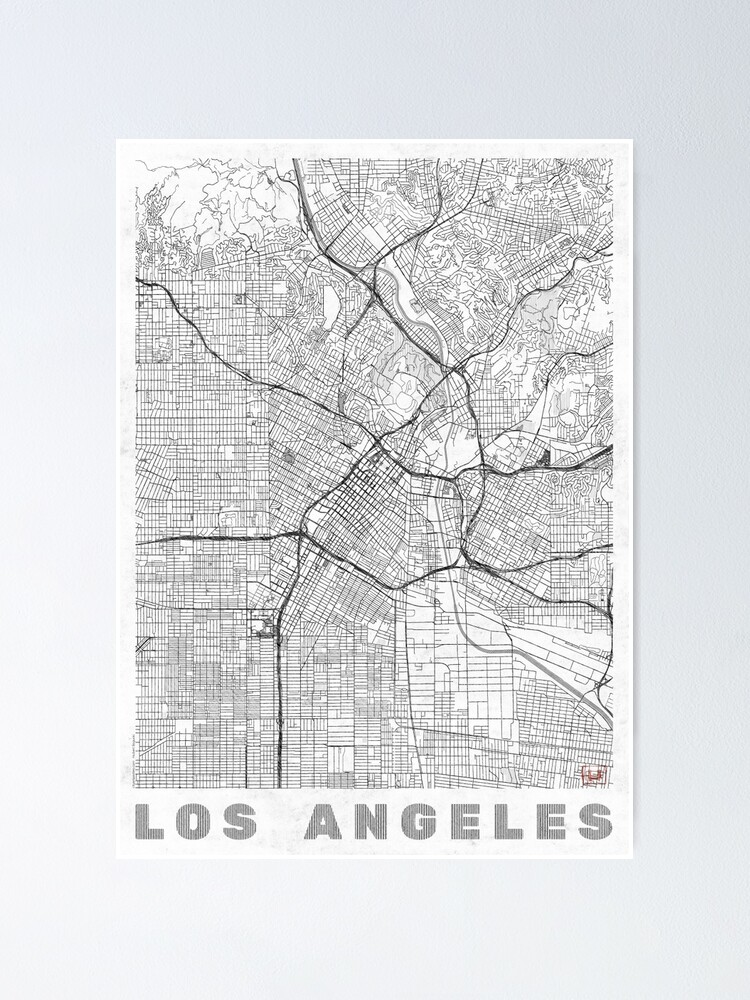 Alternate view of Los Angeles Map Line Poster