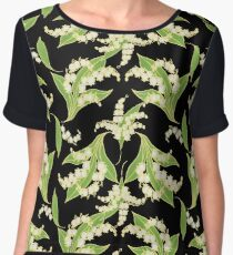 Elegant Lily-of-the-Valley Floral Pattern on Black Chiffon Top