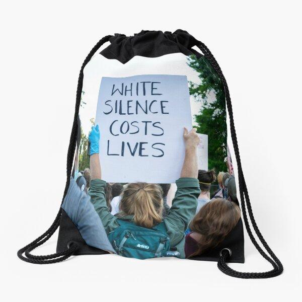 White silence costs lives Drawstring Bag