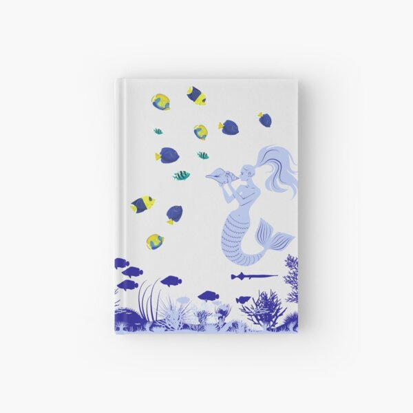 Mermaid magic, enchanting the fish with her beautiful voice  Hardcover Journal