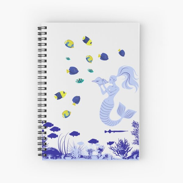Mermaid magic, enchanting the fish with her beautiful voice  Spiral Notebook