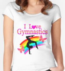 PINK I LOVE GYMNASTICS DESIGN Women's Fitted Scoop T-Shirt