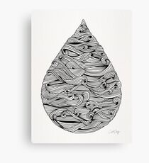 Water Drop – Black Ink Canvas Print