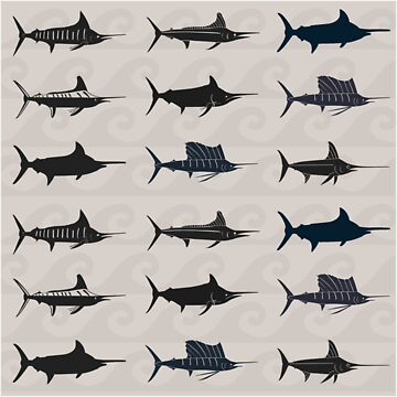 Marlin Billfish Print Throw Pillow by blackmarlinblog