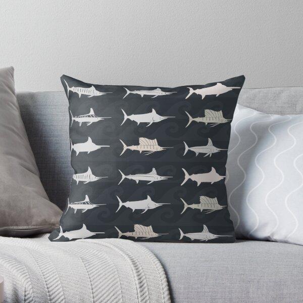 Marlin Billfish Print Throw Pillow - Dark Throw Pillow